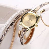 Wholesale Hot Fashion Women Retro Chains Leopard Synthetic Leather Strap Watch Bracelet Wristwatch SV010909