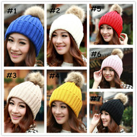 Wholesale Vogue Women s Candy Beanie Knitted Caps Crochet Faux Raccoon Rabbit Fur Pompons ball hat Curling Ear Protect Women Beanies
