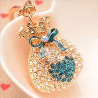 rhinestone keychain - rhinestone heart wallet key chain ring holder metal keychain gift purse bag car charm pendant women jewelry