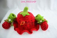 shoes hats caps - DHL FREESHIP Newborn eggplant model caps shoes set suits children kids tomato red cap infant baby handmade crochet hats hat J121006
