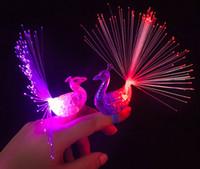 Wholesale 200PCS LED Flash Rings LED Light Up Peacock Finger Toys for Kids Finger Lights for Children Birthday Party Festival Atmosphere Light Toys