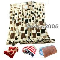 achat en gros de reine couverture douce-Soft / Warm Toile de corail velours couvertures couvertures couvertures housse de décoration de lit à la maison KING / QUEEN / FULL size Plaid printed