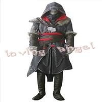achat en gros de ezio costume-Assassin's Creed Révélation Ezio Thick Denim Costume Halloween Costume Personnaliser Livraison express