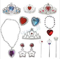 Wholesale 17 colors frozen Magic wand Earrings Necklace Ring Hair Headbands Barrette Snow Queen Elsa Anna Princess Hair hoop Frozen A
