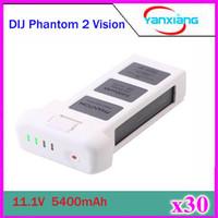 Wholesale 30pcs New V mAh MAH Battery For DJI Phantom Vision LCD power Display Quadcopter Longer flight time ZY DJI