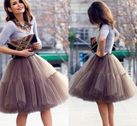 beige lace cocktail dresses - Cute Short Skirts Young Ladies Knee Length Women Skirts Adult Tutu Tulle Clothing A Line Skirt Party Cocktail Dresses Summer Wear Apparel