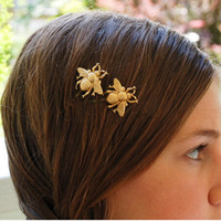 bee jewels - 2015 New fashion matted gold honey bee Hairpins for women hair clips accessories jewel grampos para cabelo bijoux