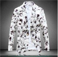 Wholesale 2015 Spring Autumn Designer Fashion Blazers Vintage Cool white Gradient Blazer Mens Blazer Jacket Suits For Men Plus Size