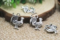 antique rooster - 25pcs Rooster Charms Antique Tibetan silver Lovely Chicken Charm Pendant x17mm