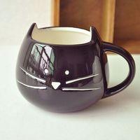 white ceramic mug - Mug Cute black and white cat ceramic cup Couple simple cup cat coffee cup Creative kitten cups cm g H