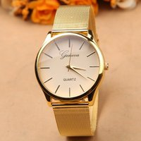 brand name watches - Gold watch Full stainless steel woman fashion dress watches men brand name Geneva quartz watch best quality