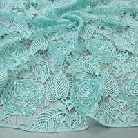 Wholesale 120cm Width Mint Green African Sequins Lace Fabric Cord lace for Wedding Dress Nigeria Lace