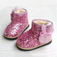 Wholesale 2014 autumn and winter childrens girls Sequins warm Plush shoes boots LY