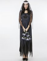 adult bride costumes - New Adult Ghost Bride Lace Tulle Long Dress Black Picot Edge Sexy Cosplay Halloween Costumes For Women Stage Performance Clothing Hot Sale