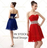 Wholesale Cocktail Party Gown Wholesale - Sexy Red Short Homecoming Dresses 2015 Sweetheart Rhinestones Chiffon Girls 16 Cocktail Prom Party Gowns IN STOCK Cheap 2016 SCD0002