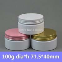 Wholesale 50pcs g White PET Cosmetic Plastic Jar oz Milk Color Empty Cosmetic Packaging with Aluminum Twist Top White Pink Gold
