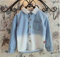 gradient denim shirt - 2015 Spring Fashion Boys Girls Shirts Long Roll up Sleeve Shirt Cool Gradient Denim Fabric Shirt Boy Children Clothing Blue K3492
