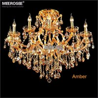 Mall Modern 25 ~ 30sq.m 13 light Maria Theresa Crystal Chandelier Light Fixture Cognac Clear Amber LED Crystal Lustre Lamp for Lobby Stair Hallway