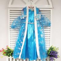 Cheap 2014 girls hooded frozen elsa blue snow dress frozen hooded dress hooded cape costume frozen dress elsa frozen princess frozen