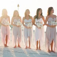 Cheap Blush Hi-Lo Beach Bridesmaid Dresses 2016 Ruched Chiffon Sweetheart Neckline with Sashes Party Dresses vestido madrinha vestido de festa