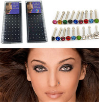 Wholesale 60pcs Colorful Nose Studs Body Jewelry Shining Srystal Nose Rings l Stainless Steel Women Men Fashion Accessories K015
