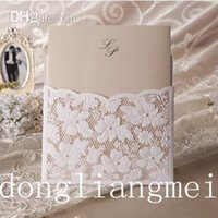 lace wedding invitations - 100pc Printable Wedding Invitations White Lace Hollow Wedding Card Design Foil Stamping Uneven mm g Paper color WHITE O Z55