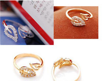 Wholesale Gold And Silver Women Gifts Leave Rings With Crystal Beaded Shiny Fashion opening adjustable Jewelry Rings