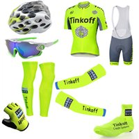 Wholesale Tour De France Tinkoff Saxo Cycling Jerseys Short Sleeve Road Bicycle Wear Seven Pieces Set With Gloves Arm Leg Shoes Cover Glass