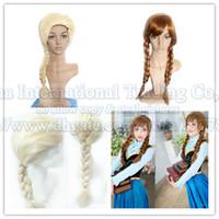 Wholesale retail Womens girls hair wigs cartoon Adult womens Hair Wigs Cosplay Wig Elsa Anna princess fluffy long hair plait ponytail for girls FH02