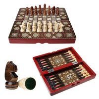Wholesale 38 Fashion in folding portable solid wooden chess set backgammon checker