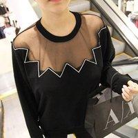 Cheap Korea stylenanda mesh wave embroidery round neck sweater 1148