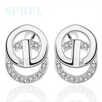 Cheap E399 2015 New supplies earrings fashion high quality Rounded zircon silver earrings Free postage