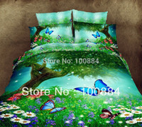 Wholesale D Oil painting butterfly d bedding D oil painting bedding sets without filler fresh green and butterfly bedspreads queen