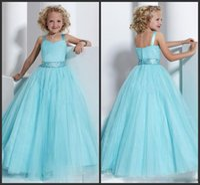 ball catches - 2015 eye catching Spaghetti Sleeveless Floor Length Beads Sequins Ruffle Zipper Ball Gown Flower Girls Dresses Custom made