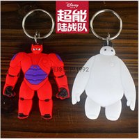 leather key ring - 2015 AAA quality BIG HERO baymax doll women men toy car key chain key ring Pendant bag accessories leather Ring Keyfob giftTOPB2340