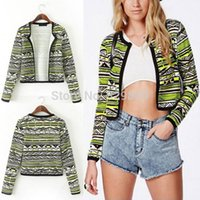 Wholesale 2014 Newest Women Vintage Collarless Ethnic Stripe Printed Short Cardigan Jacket Blouse Coat Tops