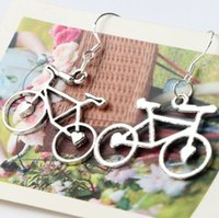 bicycle earrings - 30 x39mm Open Heart Bike Bicycle Charm Pendant Earrings Silver Fish Ear Hook Chandelier Jewelry E264