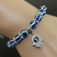 achat en gros de shamballa perles-Turquie Evil Eye Bracelet Résines Perles Shamballa Pendentif Kabbale main bracelet en perles brin élastique bijoux de charme bracelet XMAS cadeaux