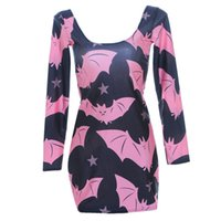 bat sleeve dress for sale - Autumn Fashion Women Summer Dress Sexy Bats Long Sleeve DRESS Digital Print Casual Vestidos Dresses For Female Hot Sale