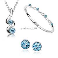 Wholesale Crystal jewelry Austrian crystal necklace earrings and bracelet set Swarovski Crystal Elements Jewelry Set z096