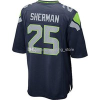Wholesale Cornerback Richard Sherman Mens Elite Football Jerseys High Quality Blue Football Apparel Well Embroidery Names Stylish Jerseys