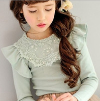 Wholesale Childrens Baby Girls Long Sleeve Lace T shirts Clothes kids Winter Autumn Clothing Cotton National Hot Sell Floal Round Neck ZZ
