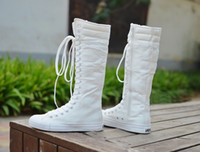 Wholesale Hot Sale Ladis Canvas Boots Womens Punk EMO Sneakers Lace up Knee High Boots Gothic Lace Up Fashion Canvas Shoes