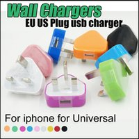 Wholesale UK Plug Power Adapter USB Home Wall Charger AC DC V A Pin Travel Adapters Cell Phone Universal Chargers For iPhone