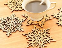 Wholesale 2016 new Wooden Snowflake Mug Coasters Holder Chic Drinks Coffee Tea Cup Mat Decor Mats