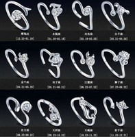 Wholesale New Zodiac Sterling Silver Jewelry Rings Women Girl With Rhinestone Opening Retro Ring In Europe And America Couples Ring