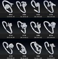 Nueva Zodiac 925 anillos de joyería de plata esterlina mujeres de la muchacha con el Rhinestone de apertura del anillo retro en Europa y América del anillo Parejas
