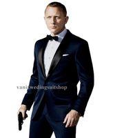 Wholesale 2015 Custom Made New Style Groom Tuxedos shawl Lapel dark blue Groomsmen Suits business wedding suits Jacket Pants tie Free Shiping