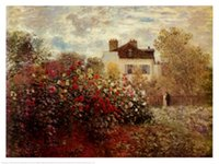 One Panel art reproduction artist - Landscape Art The Artists Garden at Argenteuil Claude Monet Painting Canvas Reproduction High quality Hand painted