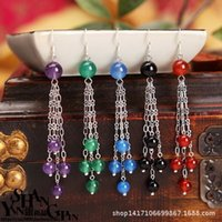 asian dating - Bohemian earrings long section of red and black blue green agate earrings natural amethyst earrings EH00815